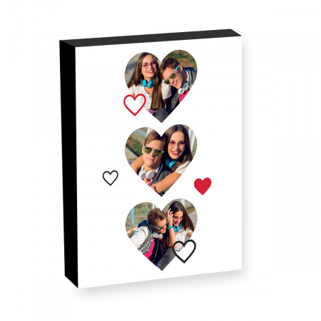 "8"" x 6"" 3 Hearts Photo block"