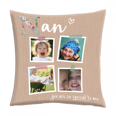 "24"" 'Nan Scrapbook Photos' Canvas Square Cushion"