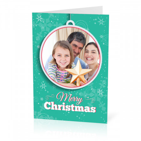A5 Green Bauble Christmas Card