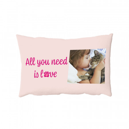 "13"" x 19"" All You Need is Love Pet Oblong Photo Cushion"
