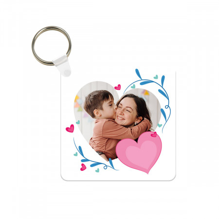 Floral Heart Plastic Photo Keyring