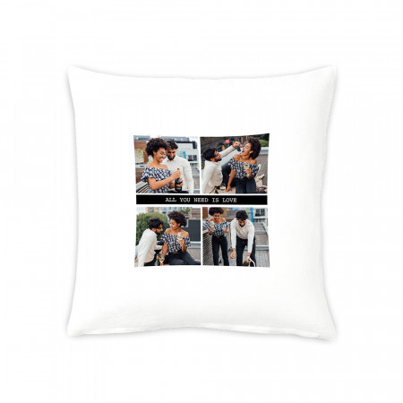 "16"" 4 Photos and Text Cushion"