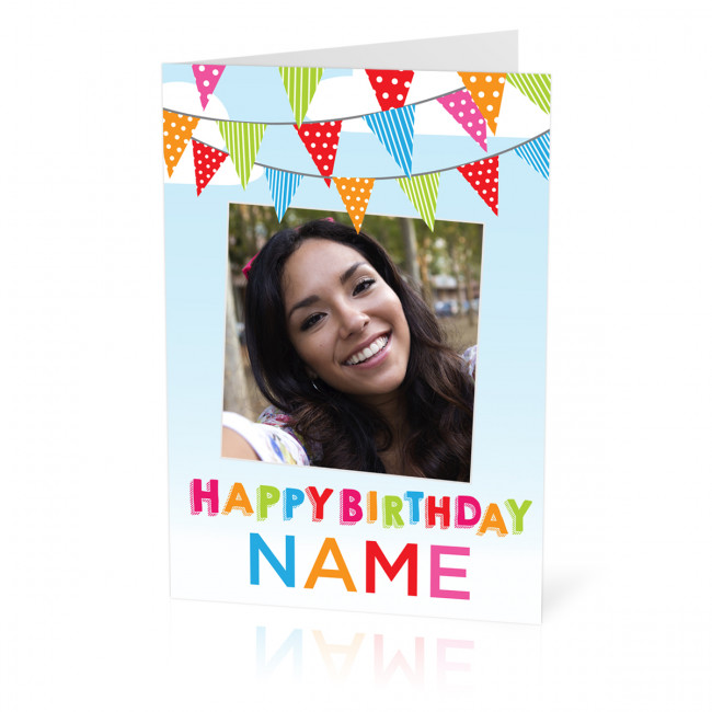Personalised Birthday Card With Bunting A5