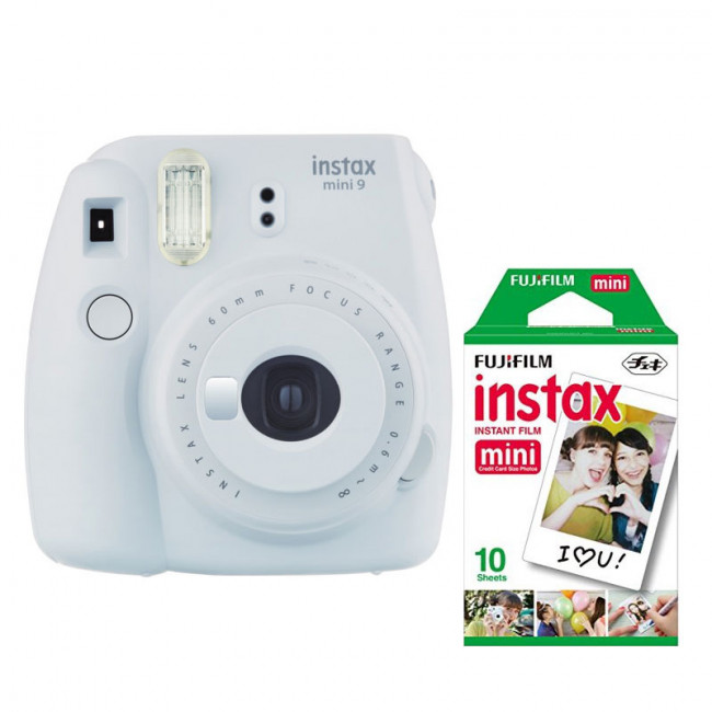 cfe028d1fe54a Fujifilm Instax Mini 9 Instant Camera with 10 Shots of Film - Smokey White