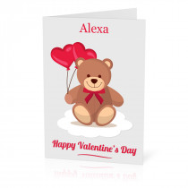 A5 Teddy Valentine Hearts Card
