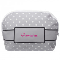 Grey Polka Make Up Bag