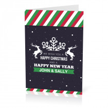 A5 Stripy Christmas Card