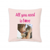 "18"" All You Need Is Love Pet Square Photo Cushion"
