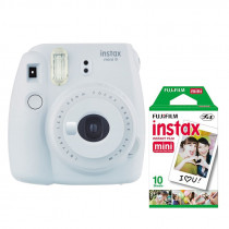 Fujifilm Instax Mini 9 Instant Camera with 10 Shots of Film - Smokey White